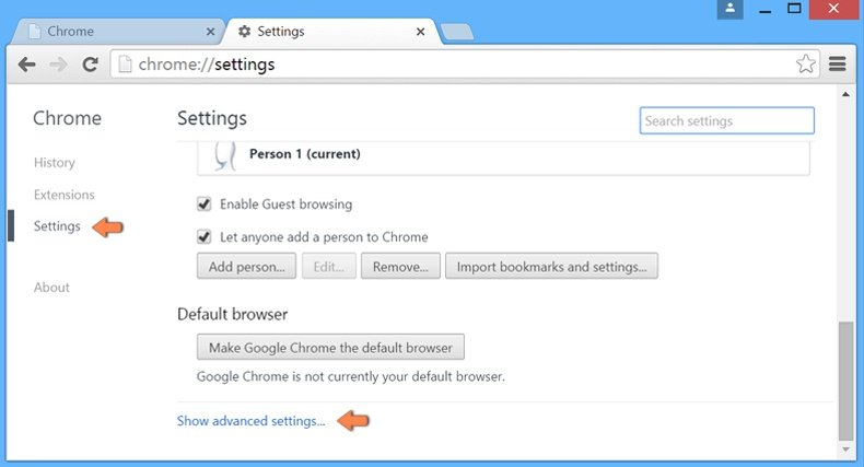 google chrome how to stop yahoo search