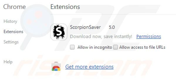 Scorpion Saverin poistaminen Google Chromesta vaihe 2