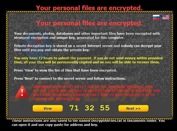 Your personal files are encrypted -ransomware (citroni)